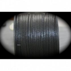1mètre de cordon suédine plat noir effet brillant  3x1,5mm