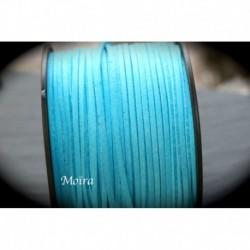 1mètre de cordon suédine plat turquoise  3x1,5m