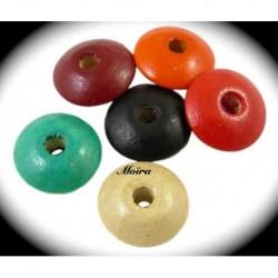 30 perles multicolore bois pastilles  rondes 14mm