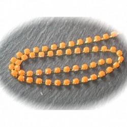 50cm de chaine laiton dorée strass résine orange  3mm