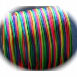 5 mètres multicolore fluo fil de nylon satiné épaisseur 2mm