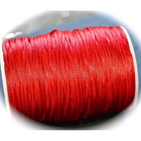 5 mètres rouge de  fil de nylon satiné épaisseur 2mm