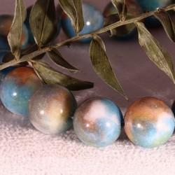 14MM :6 perles pierre jade turquoise marbré chocolat