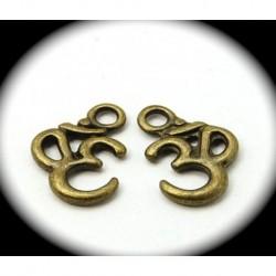 """10 breloques """"ohm"""" symbole hindouiste métal couleur bronze 16x11mm"""