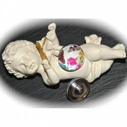 2 boutons pression pour bracelet  chunk motif 2 papillons paon  de nuit couleur brique sur camélia rose 18mm