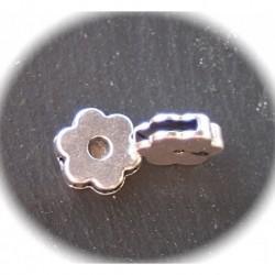 x2 perles coulissante fleurs métal argenté 12x4mm