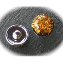 1bouton chunk a pression métal argenté dessin géométrique  nacré miel doré  18mm