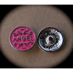 "1bouton pression spécial bracelet chunk 18mm ""angel"" fond rose"