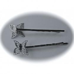 6  barrettes a cheveux argenté forme papillon filigrane  60x17mm