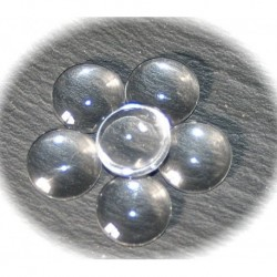 10 cabochons en verre transparent 16mm
