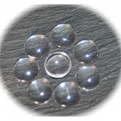 10 cabochons en verre transparent 12mm