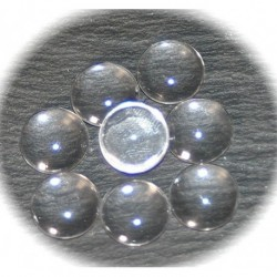 10 cabochons en verre transparent 14mm