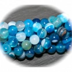 x10 perles d'agate bleu veinée 6mm