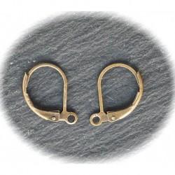 50 attaches boucle d'oreilles laiton couleur bronze dormeuse 10x15mm