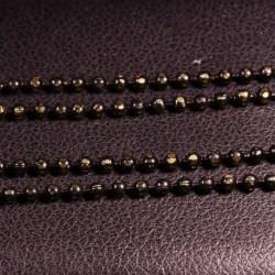 1 mètre chaine laiton plaqué  or facette boule noir /or 1,5mm
