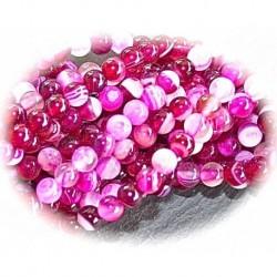 x20 perles d'agate framboise et rose veinée ronde 4mm