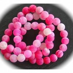 x10perles d'agates givrée aspect craquelées rose /blanc   6mm