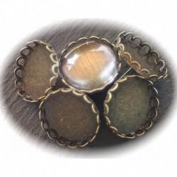 x5 paires boucle d'oreille clou support cabochon bronze+10 verres20mm