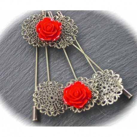 x5 broches fibule  rosace filigrane  bronze à décorer 26mm