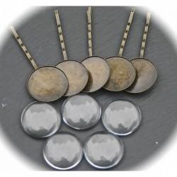 5 supports barrettes bronze  25mm