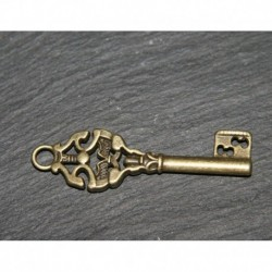 x10 breloques clé esprit vintage laiton 50x15mm