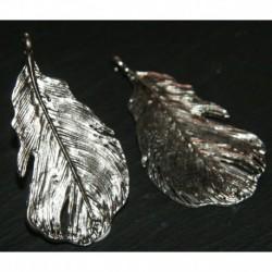 x2 breloques feuille GM métal argenté 50x24mm
