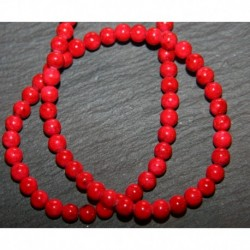 x20 perles de  corail gorgone rouge 3,5/4mm