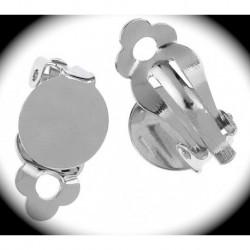 5 paires boucle d'oreille  clip métal argenté plateau12mm