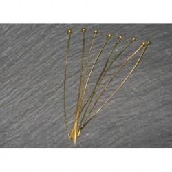 x100 clous tete boule métal doré 50mm