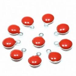 10 sequins rond  acier inoxydable émaillé rouge  bi face 11x8mm
