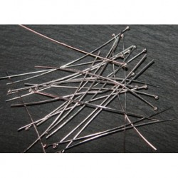 50 clous à tête  boule métal argenté  vif 50mm