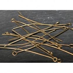 50 clous tête ronde laiton couleur bronze 50mm