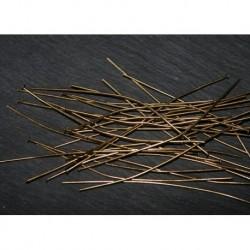50 clous tête plate laiton couleur bronze 50mm