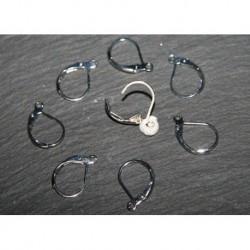 x30 attaches boucles d'oreille laiton couleur argenté platine 15mm