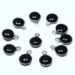 10 sequins rond  acier inoxydable émaillé noir  bi face 11x8mm
