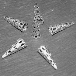 x10 calottes coupelles métal argenté clair ciselée  dentelle 23x10mm