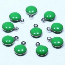 10 sequins rond  acier inoxydable émaillé vert 11x8mm