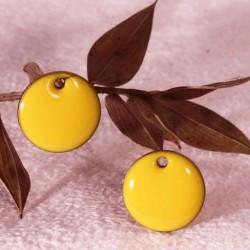 6 sequins pastille ronde jaune vif émaillé laiton réversible  12mm
