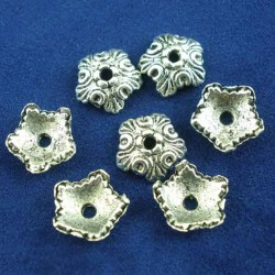 20 calottes coupelles argent fleurs 5 pétales 10x4mm
