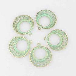 2 pendentifs connecteur chandelier patine vert de  gris 28mm