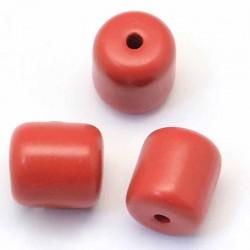 6 perles cinabre tonneau rouge 10X11MM