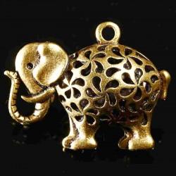 x1 breloque  éléphant  bronze  ciselé  35x25mm