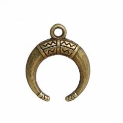 10 breloques boheme bronze demi lune 18x15mm
