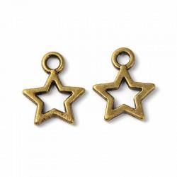 20  breloques étoiles bronze 11x10mm
