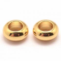 10 perles laiton plaqué or 6.5mm
