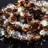 50 perles de verres craquelées chocolat /transparent 8mm