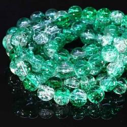 50 perles de  verre craquelées  rondes 8mm