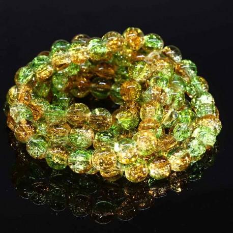 50 Perles de verre craquelées 8mm rondes orange/vert