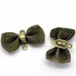 6 connecteurs noeud papillon résille bronze 18x9mm