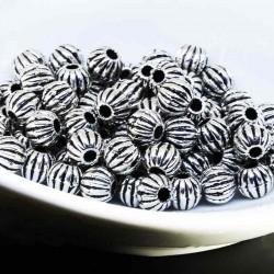 50 perles metal argenté ronde citrouille 6mm